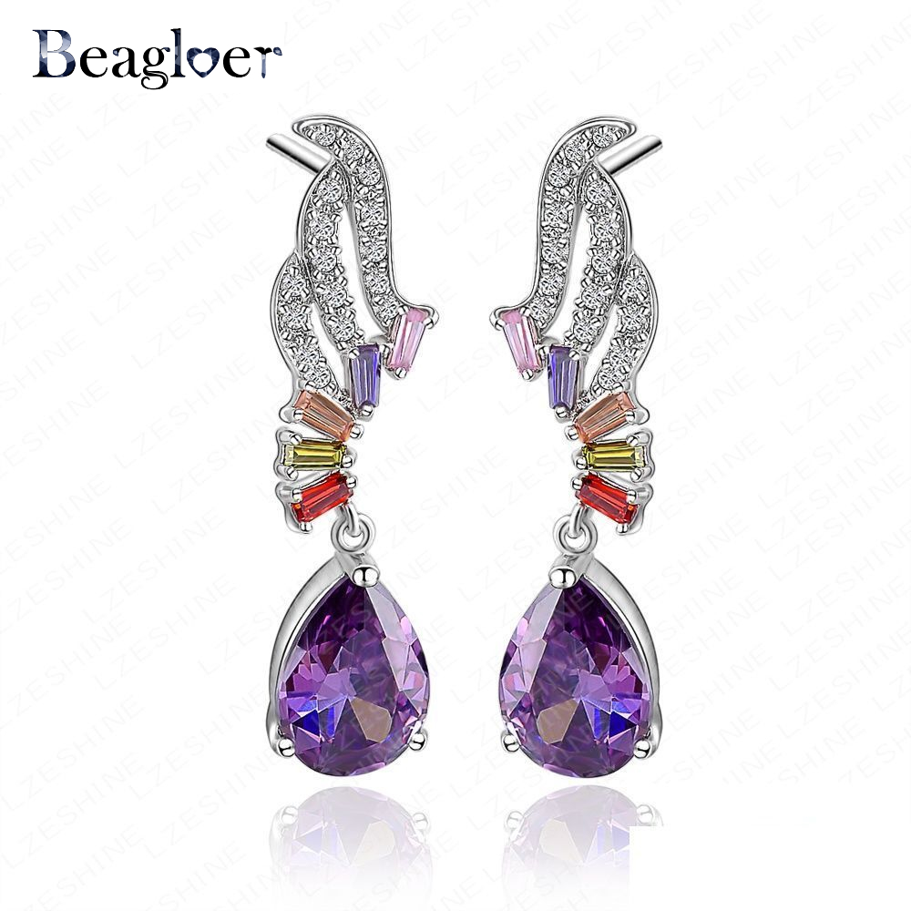 Beagloer Purple Color Water Drop Shape Cubic Zirconia Earrings Romantic Style Angel Wing CZ Stone Drop Earring CER0014-B